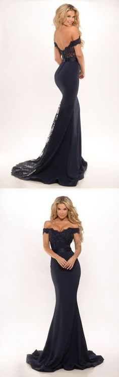 2016 Custom Charming Black Lace Prom Dress,Sexy Off the Shoulder Evening Dress