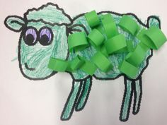 'Where is the Green Sheep?' By Mem Fox artwork - children curl green strips of paper to create sheep's wool