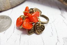 60s Cha Cha Ring ~ Fun, Original Falling Leaves Ring ~ Unique Boho Cluster Ring ~ Colorful Fall Jewelry Trends ~ Adjustable Handmade Ring by blueworldtreasures. Explore more products on http://blueworldtreasures.etsy.com