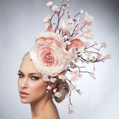 pink floral headdress Cherry Blossoms Fascinator Hat