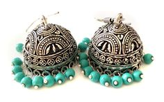 Turquoise Earrings,Indian Silver Jhumkas,Royal Jewelry,Large Jhumka Kucchi kuchi Earrings Ethnic gypsy tribal Indian Jewelry by TANEESI by taneesijewelry on Etsy
