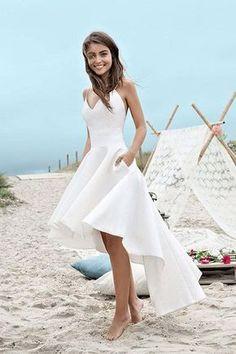 Sweetheart Spaghetti Beach Wedding Dresses,Backless High Low Cheap Wedding Gown,SW85