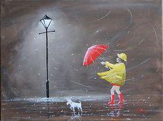 Girl-Radley-Dog-Original-Art-Oil-Acrylic-Painting-Canvas-Red-Umbrella-Jim-Gillon