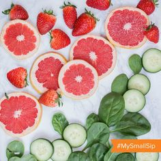 Water coolers are so last year.  Switch it up today and munch on H2O instead with this fun small sip: cucumbers, spinach, strawberries and grapefruit are just some of the yummy fruits and veggies that contain more than 90% water! Want more simple, healthy sips? Click through and take a sip in a brighter direction with us!