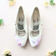 Handpainted dahlia and lavender flower flat satin wedding shoes. Designed and made by Elizabeth Rose London
