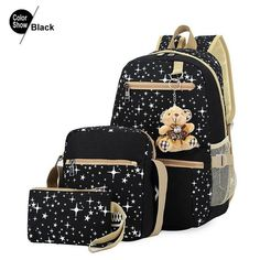 5f9a3b1110 2016 Fashion Women Backpack With Bear School Bags For Teenagers Girls Backpack  School Star Printing Bookbag