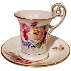 For Sale on - century Meissen Porcelain demitasse cup and saucer Beautiful painted floral pattern with gold trim. Measurements in inches: Cup D x H Saucer