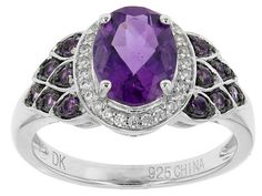 1.67ctw Oval And Round African Amethyst With .12ctw Round White Zircon Sterling Silver Ring