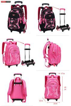 559de19e6 [Visit to Buy] MAGIC UNION Triple-wheel Trolley Backpack For Children  Fashion Heart