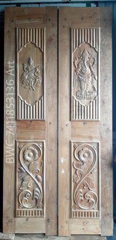 Single Door Design, Wooden Main Door Design, Double Door Design, Front Door Design, Wooden Double Doors, Double Front Doors, Wooden Doors, Duplex House Design, Wood Flowers