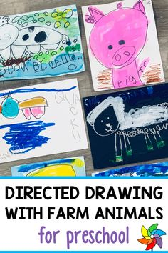 Looking for a fun and engaging directed drawing activity for your preschoolers? This farm animal directed drawing helps students with their fine motor skills including pencil grasp, hand-eye coordination. This step by step directed drawing helps students learn how to draw animals as well as learn animal sounds. During this preschool craft, students get to use tempera sticks and water color paints. This low budget craft is simple and enjoyable for all students. Preschool Decor, Preschool Art Projects, Preschool Art Activities, Painting Activities, Color Paints, Circle Time Activities, Spring Art Projects, Budget Crafts, Farm Unit