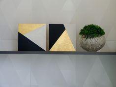 2 Quadros Geometricos. Pintura acrílica e Folha de Ouro. 25x25cm