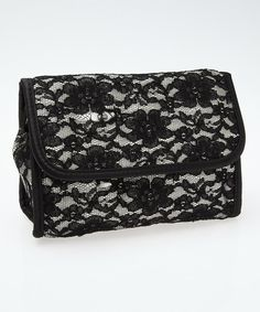 Look at this Mia Beauty Black Lace Mirror Cosmetic Bag on #zulily today!
