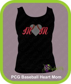 Mom Glitter & Rhinestone Baseball Heart, $22.99  Add names and numbers to this shirt.. many different styles and colors to choose from