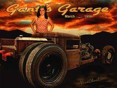 Rat Rod Rider at Gantt's Garage is all about the Ride ~:0) VivaChas Hot Rod Art!