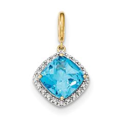 14k Lt. Swiss Blue Topaz w/Diamond Halo Pendant XP4485BT/AA