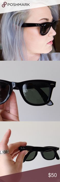 Rayban wayfarer! These (inauthentic) Ray bans are the perfect go to sunglasses for an every day style. They look and feel exactly like the real thing! There are no scratches on the lenses. There are tiny scratches on the arms and a tiny (literally not visible if you're wearing them) nick on the inside of the nose area. Both are pictured, but as stated are tiny, so you might not even be able to see them in the picture! Just needed something to hold me until I bought a different pair :) ask…