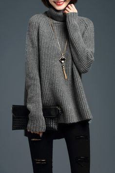 Turtleneck Side Zipper Sweater