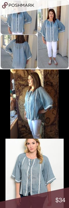 Chambray Pheasant Plus Top This beautiful top features beige crochet ribbon accents and has front button closure. Sleeves are 3/4 in a flare sleeve. Lightweight, comfortable top. 100% Polyester (This closet does not trade or use PayPal) WAPI for Plus Tops Button Down Shirts