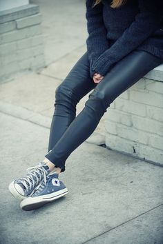 To know more about CONVERSE ALL STAR, visit Sumally, a social network that gathers together all the wanted things in the world! Featuring over other CONVERSE items too! Looks Chic, Looks Style, Style Me, Blue Style, Leather Trousers, Leather Leggings, Leather Converse, Converse Sneakers, Cheap Converse