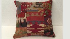 kilim pillow,decorative pillow,home living,home decor,vintage,turkish pillow,rustic decor,handwoven pillow,throw pillow,accent pillow,16x16 $28.00 Local taxes included (where applicable). Only 1 available