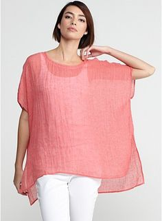Eileen Fisher Peony Pink Ballet Neck Short-Sleeve Boxy Tunic in Pinstriped Linen Gauze