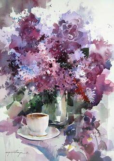 Art Of Watercolor: lilac Watercolor Pictures, Watercolor And Ink, Watercolor Flowers, Art Aquarelle, Arte Floral, Love Art, Painting & Drawing, Drawings, Watercolors
