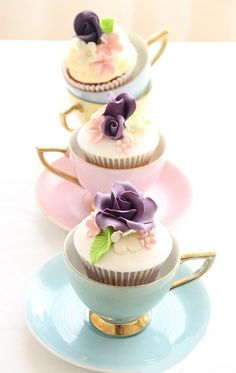 Cupcakes in cups! I am not putting the cupcakes in cups . But the bottom cupcake is the inspiration for the rose cupcakes for tea Pretty Cupcakes, Beautiful Cupcakes, Yummy Cupcakes, Cupcake Cookies, Teacup Cupcakes, Elegant Cupcakes, Pearl Cupcakes, Fancy Cupcakes, Floral Cupcakes