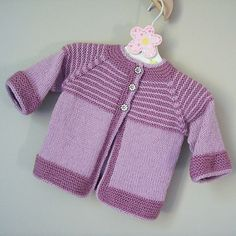 Garter Yoke Baby Cardigan free Knitting Pattern