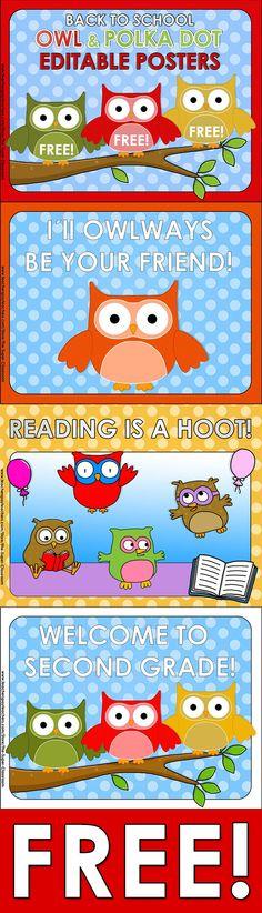 Back to School – OWL  POLKA DOT – Editable Posters  Here you are 3 FREE posters for your OWL  POLKA DOT Themed Classroom!