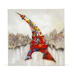 Toile 80x80cm peinte à la main : la Tour Eiffel Multicolore - Bancal - Toiles décoratives - Affiches et déco murale - Salon et salle à manger - Décoration d'intérieur - Alinéa