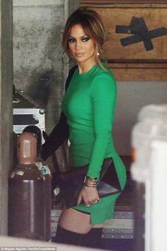 Jennifer Lopez wearing Versace Fall 2015 Short Dress and Versace Plaform Thigh High Boots
