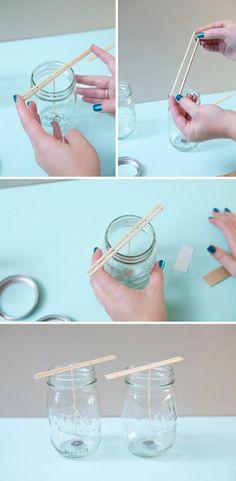 fixer la mèche, troisième étape de notre projet DIY pour fabriquer des bougies excellentes