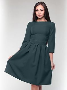 af9d24dee0a Dark Emerald Paneled 3 4 Sleeve Gabardine A-line Midi Dress Elegant Dresses