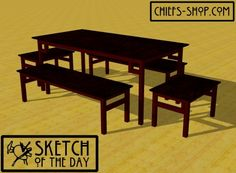 Sketch of the Day: Modern Dining Table & Benches