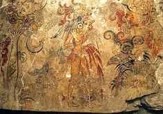 petroglyphs.  preclassique Maya  Maya Discovery This mural found in the ruins of a pyramid in   Guatemala  depicts the Maya creation myth. Here, the son of the   maize god sheds his own  blood in sacrifice.