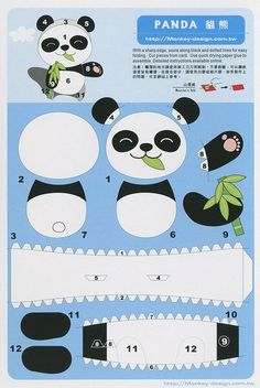 Panda - Cut Out Postcard 3d Paper Art, 3d Paper Crafts, Paper Toys, Panda Craft, Panda Party, Paper Animals, Diy Papier, Diy Origami, Animal Crafts