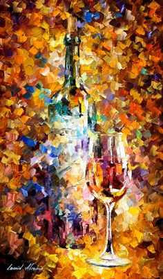Awesome wine glass and bottle, sold @ https://www.etsy.com/pt/listing/223277919/wine-for-emotions-palette-knife-still