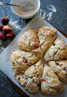 Strawberry chocolate chip buttermilk scones |www.you-made-that.com