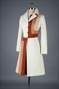 Vintage 1970's Lilli Ann Ombre Optical Print Jacket Dress Set