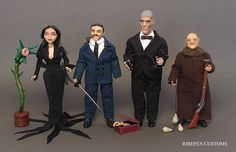 The Addams Family ribefex customs set Addams Family Tv Show, Animation Film, Action Figures, Tv Shows, Goth, Google Search, Games, Halloween, Gothic