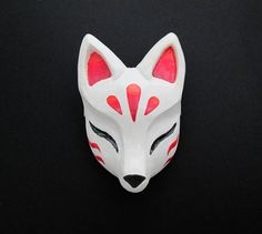 Kitsune Mask Japanese Fox Sculpture Hairclip Cosplay Costume