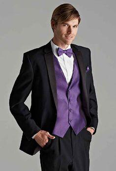 Regency Purple Tuxedo Vest Tie With Black Suit Davids Bridal