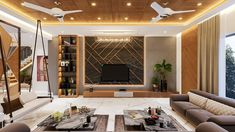 Living Room Designs India, Living Room Tv Unit Designs, Living Room Ideas, Interior Design Living Room, Living Room Partition Design, Room Partition Designs, Bungalow Interiors, Bungalow House Design, Living Tv