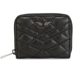 Zadig & Voltaire Small Quilted Wallet (500 DKK) ❤ liked on Polyvore featuring bags, wallets, black, leather bags, black zipper wallet, zipper wallet, genuine leather wallet and black leather bag