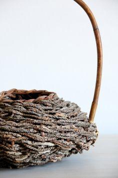 vintage basket/ woven wood decorative basket by wretchedshekels,