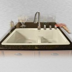Miseno MCI75-4TM-LD 33 Double Basin Drop In Cast Iron Kitchen Sink (Cream Finish), Biscuit
