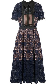 Self-Portrait | Camilla chiffon-trimmed guipure lace dress | NET-A-PORTER.COM