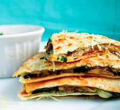 Spinach and Mushroom Quesadilla with Cilantro Lime Dipping Sauce