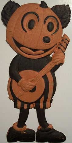 vintage german halloween diecut pumpkin man with banjo - German Halloween Decorations